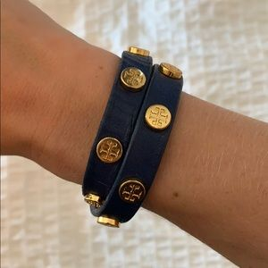 Tory Burch Navy Leather Wrap Bracelet